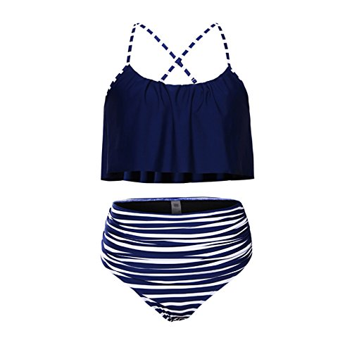 E-GIRL S410149 Damen Badeanzug Bademode Tankini Blau