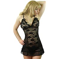 Yummy Bee Plus Size Lingerie Babydoll Lace Dress Nightwear Set Black G String 8 - 30