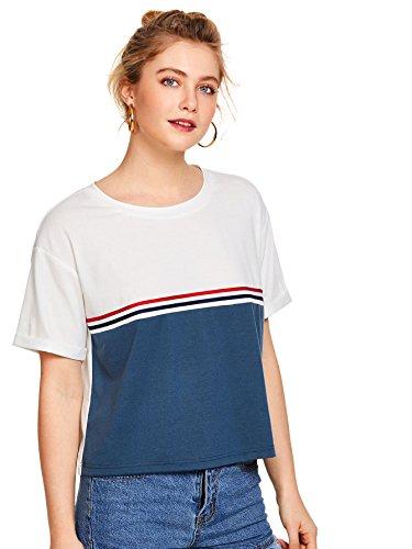 Romwe Damen Grafik Tshirt Kurzarm Sommer Stylisch Shirt Blau XS (Sommer-grafik-t-shirt)
