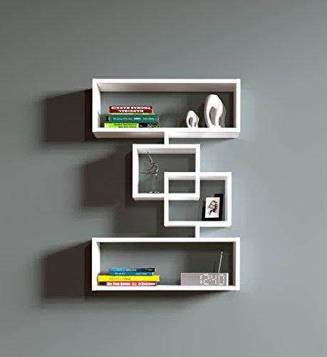 Force mensola moderna da muro - mensola parete - mensola libreria - scaffale pensile in legno per studio / soggiorno (bianco)