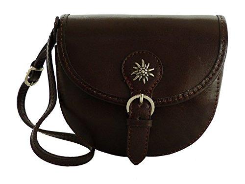 Elegante Echt Leder Trachtentasche mit Fleur des Lys oder Edelweiss fürs Dirndl - Rindsleder Edelweiss Dunkelbraun