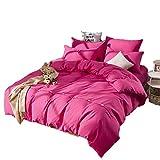 Kfz-Bettwäsche-Set (Doppelbett, King-Size-Bett, 4 Stück: Bettbezug, Bettlaken, 2 Kissenbezüge), keine Bettdecken, Winterknöpfe, einfarbiges Design für Erwachsene, Kinder, Microfaser, Milan Style, Pink, Queen,78