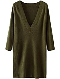 Lukis Damen V Ausschnitt Pulloverkleid Strickpullover Sweatpullover