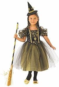 Halloween - Disfraz de Bruja para niña, verde con estrellas - 3-4 años (Rubie