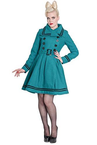 Hell Bunny breve cappotto NEW MILLIE COAT teal verde petrolio Medium