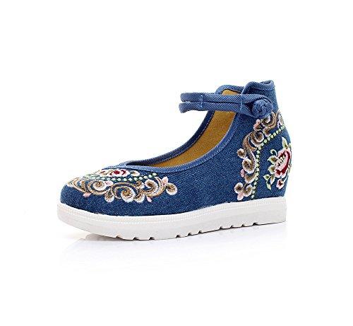 DESY Scarpe ricamate, lino, suola a tendine, stile etnico, Aumento delle scarpe da donna, moda, confortevole, casual denim blue