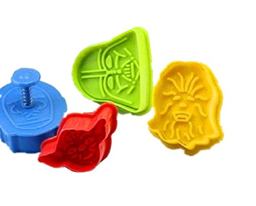 Romote Juego de 4 Star Wars cortadores de galletas émbolos de molde de la torta del molde para hornear la pasta de azúcar decoración Hornear