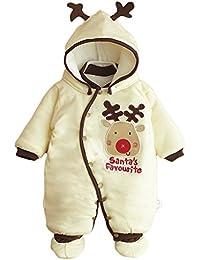 Vine Baby Weihnachten Strampelanzug Winteroverall kostüm lange Ärmel Strampler Weihnachtskostüm Unisex Kleinkinder Warm Jumpsuits +Schuh