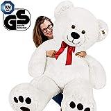 Deuba Teddy | Größe XXL 150cm | Farbe Weiß | Teddybär Kuscheltier Stofftier Plüschbär Eisbär Plüschtier Teddi