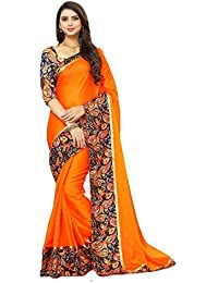 Regent-e Fashion Women's Georgette Saree With Blouse Piece(3004_Orange_Free Size)