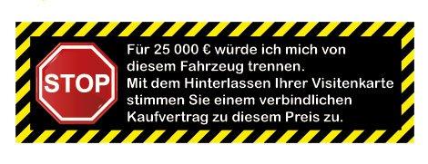 (Kaufvertrag Aufkleber für Fahrerscheibe 25000 € Visitenkarten Autohändler)