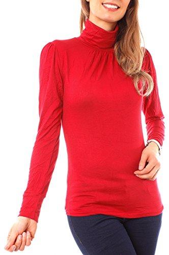 Easy Young Fashion Damen Rollkragen Shirt Uni One Size Rot