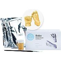 Pemium Huellas de Bebe en 3D, Kit De Modelado para Huellas de Manos y Pies de Bebé con Pintura Dorada - Escultura Única, Regalo Perfecto para Dia de La Madre, Baby Shower, Bautizo y Navidad
