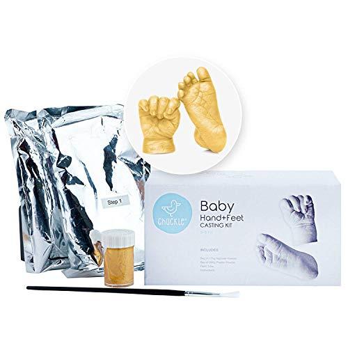 abdruck Fußabdruck Gipsabdruck mit Goldfarbe - Casting-Kit - Einzigartige Stilvolle Skulptur für Muttertag, Baby-Duschen & Taufen - Memento zu behalten Für Immer ()