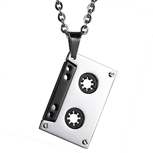 flongo-pendentif-collier-homme-acier-inoxydable-argent-noir-musique-cassette-magnetophone-punk-rock-