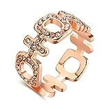 Aeici Roségold Ringe für Damen Modestil Quadratischer Hohler Kreuzkristall Größe 57 (18.1)