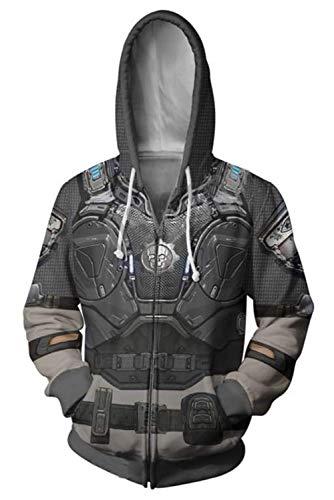 MingoTor Herren Damen War Machine Kapuzenjacke 3D Pullover mit Kapuze Sweatjacke Hoodie Cosplay Kostüm Unisex (War Machine Kostüm)
