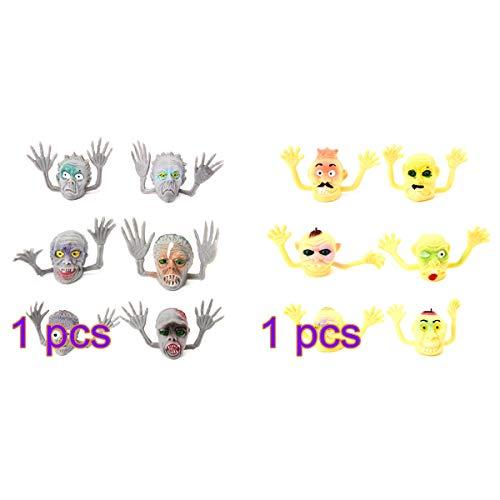 BESTOYARD 12 stücke Zombie fingerpuppen Spielzeug Halloween Scary fingerpuppen Requisiten Halloween Simulation Finger Spielzeug für Kinder (Skelette, Geist)