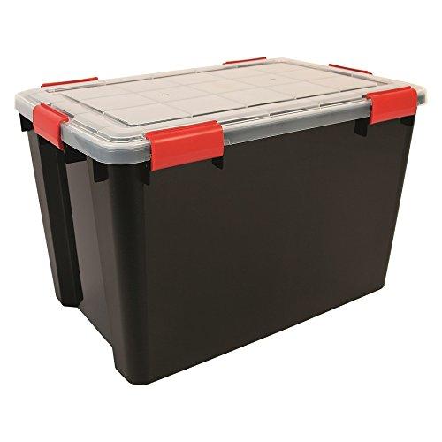 1x 70Liter extra groß weathertight luftdicht schwarz/transparent Kunststoff feuchten Bereich Dry Aufbewahrungsbox. 59cm x 39cm x 38cm–hermetisch versiegelt abnehmbarer Deckel.