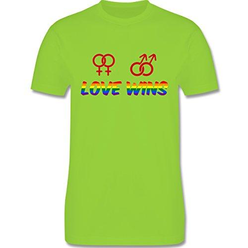 Shirtracer Statement Shirts - Love Wins - Herren T-Shirt Rundhals Hellgrün
