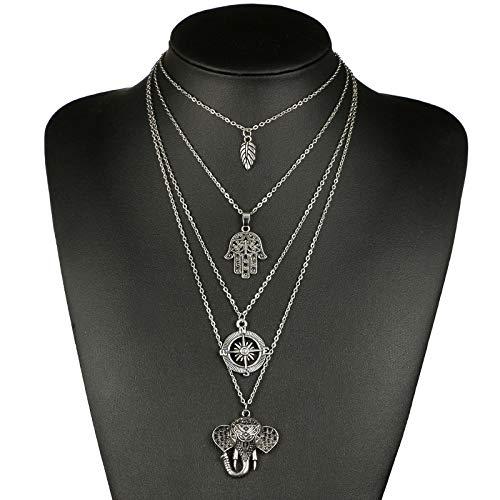 QMangel Collar De Mujer,Estilo Bohemio Original Deja De Moda Palm Brújula Multi-Capa...