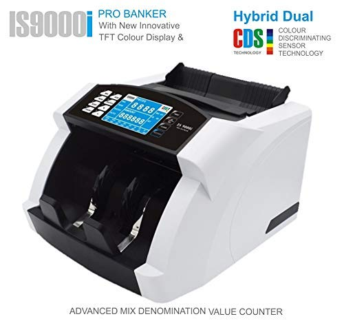 KROSS IS9000 Elite Mixed Denomination Value Counter/Money Counting Machine with Fake Note Detection and Value Counting, Hexa CORE CDS Technology