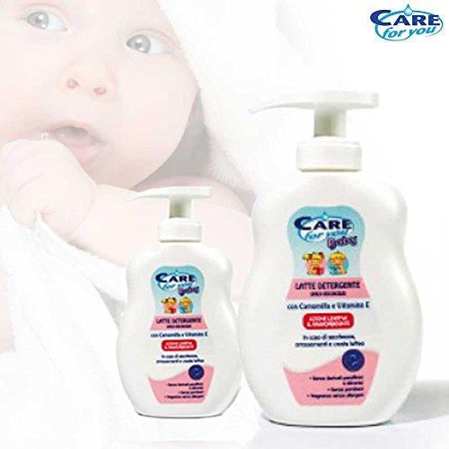 Bakaji Latte Detergente per Bambini Care For You 250 ml Promo Pack 2 Pezzi Offerta Promozionale 2 Flaconi con Camomilla Azione Lenitiva e Ammorbidente Neonati
