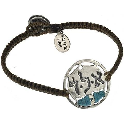 Mizze Made For Luck Jewelry Grigio e turchese Kabbalah Ald protezione Bracciale per uomo