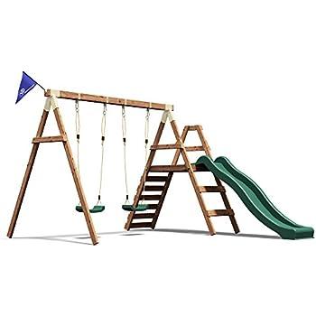 wooden swing set wave slide kids outdoor garden climbing frame dunster house foxcub