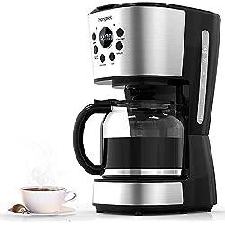Homgeek Cafetière à Filtre, Cafetière Programmable 12 tasses avec Carafe en Verre, Système Anti-Gouttes, Arrêt Automatique, Sans BPA, 900W