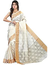 MIMOSA Women's Silk Saree (2037-Hlfwhite,Off-White,Free Size)