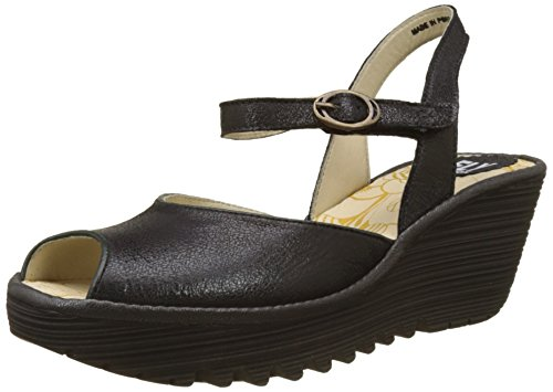 Fly London Yora830fly, Sandales Bout Ouvert Femme Noir (Black/graphite)