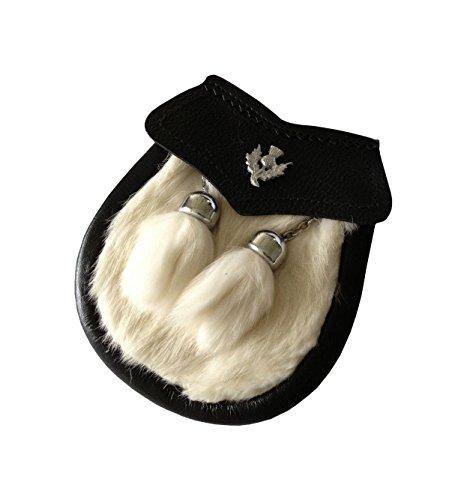 Jungen SEMI Kleid Weiß Kilt Kilttasche Sporran mit Distel Emblem & Kette Gürtel (Kilt Weiße)