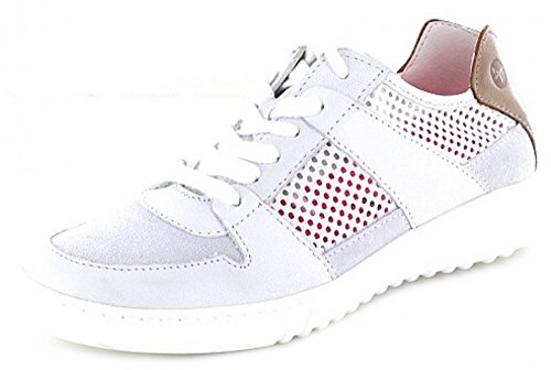 Tamaris Damen Sneaker Schnür Leder Halbschuh weiß grau braun Yoga It Weiß
