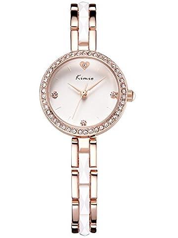Alienwork Quarz Armbanduhr Armreif Kette wickeln Quarzuhr Uhr Strass elegant weiss rose gold Metall