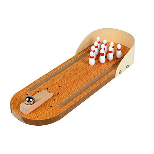 ling-Spiel Indoor Holz Bowling-Spiel Klassische Tisch Bowling Toy Schreibtisch Brettspiele für Kinder und Erwachsene Set ()