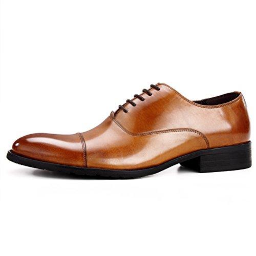 Scarpe Uomo in Pelle Scarpe in pelle uomini di stile europeo Abiti formali-Hand cucitura affari a punta stile britannico ( Colore : Caffecolore , dimensioni : EU39/UK6 ) Marrone