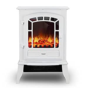 Econo White 2000w Log Burning Effect Electric Fire Stove Heater Fireplace