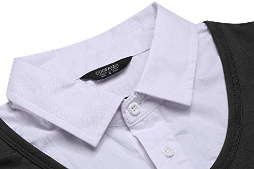 Coofandy Herren Langarmshirts/hemd mit V-Ausschnitt einfarbig slim fit stretch 2 in 1 Grau