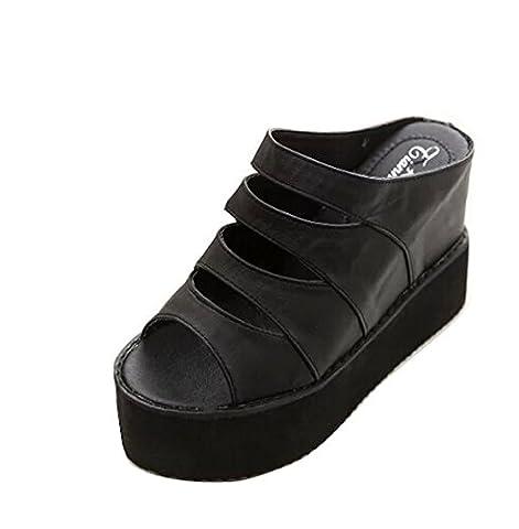 Gaorui Women Hollow Out flat sandal Peep Toe fashion Platform Wedge Heel Shoes mules