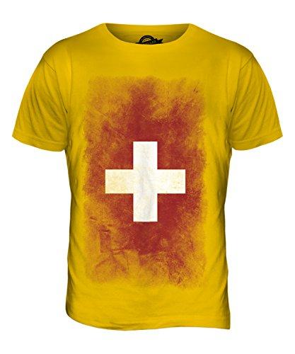 CandyMix Schweiz Verblichen Flagge Herren T Shirt Dunkelgelb