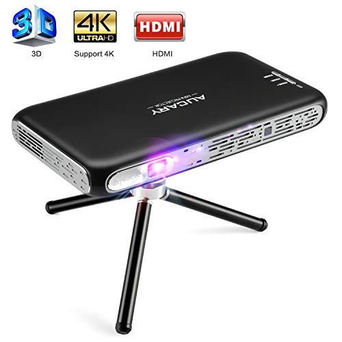 Mini Beamer ,3D DLP Projektor 200 ANSI lumens Pocket Heimkino Videobeamer mit HDMI unterstützt 4K 1080P Full HD ,8400mAh Akku für 2.5 Stunden