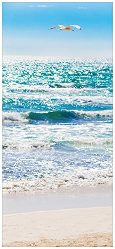 Wallario Selbstklebende Türtapete Rettungsschwimmer-Turm am Strand - Mallorca Spanien - 93 x 205 cm in Premium-Qualität: Abwischbar, Brillante Farben, rückstandsfrei zu entfernen