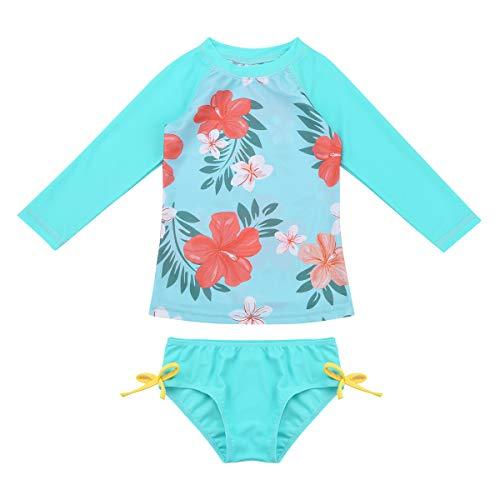MSemis Baby Mädchen Rash Guard Badebekleidung Zweiteiler Bikini Tankini Langarm Badeanzug mit Blumen Muster für Kleinkinder Blau-grün Bikini Sets 98-104/3-4Jahre (Mädchen Slip 3 4t)