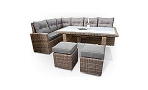 Set di mobili da giardino in polyrattan, con tavolo, sofà angolare, sgabelli, cuscini, resistenza ai raggi UV a lunga durata, colori naturali, per 8 persone