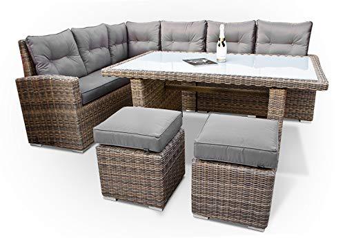 Set di mobili da giardino in polyrattan con tavolo sofà angolare