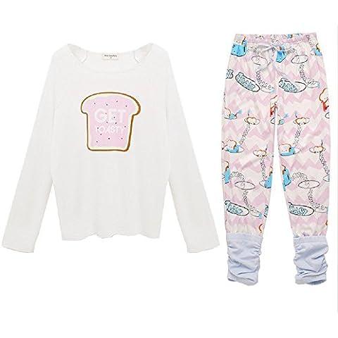 DMMSS Yukata dulce linda de manga larga pijamas Set señoras , figure color , s