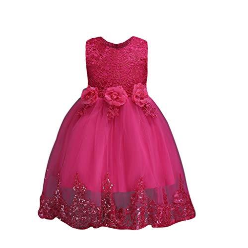 squarex Sommerbaby-Sleeveless Blumenblumenpaillette-Kleid-Spitze-Kleid-formales Kleid-hübsches Temperament bequem (Hübsche Mädchen Für Outfits)