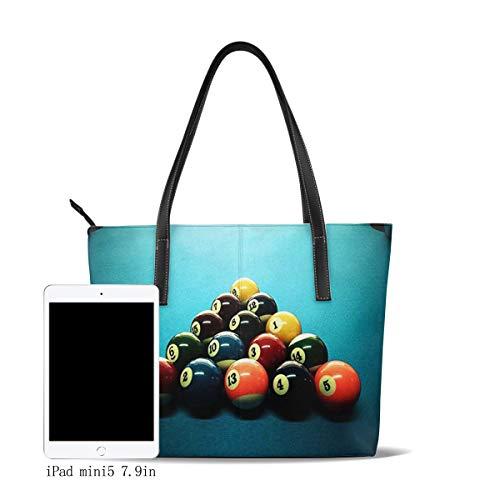 OMNVEQ Damen Handtasche Pu Leder Groß Shopper Handtasche Elegant Damen Tasche Schultertasche Tragetasche für Büro Schule Einkauf Super Billardtisch
