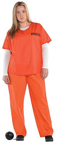 Inmate Häftling Karneval Komplett Kostüm , Orange, 2XL (Häftling Kostüm Frauen)